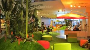 The tropical pop-up park McCann created in the MIA lobby a few winters ago.