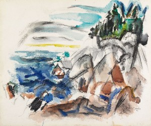 """John Marin, """"The Sea, Maine,"""" 1921, watercolor and charcoal, Gift of John and Myrtle Coe 98.269.18"""