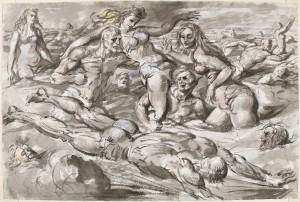 """Reginald Marsh, """"Coney Island Bathers,"""" c. 1946, Chinese ink and watercolor Bequest of Felicia Meyer Marsh 82.103.1"""
