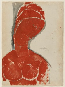 """Modigliani's """"Female Bust in Red"""" is the cover girl for the MIA's current exhibition """"Marks of Genius: 100 Extraordinary Drawings."""""""