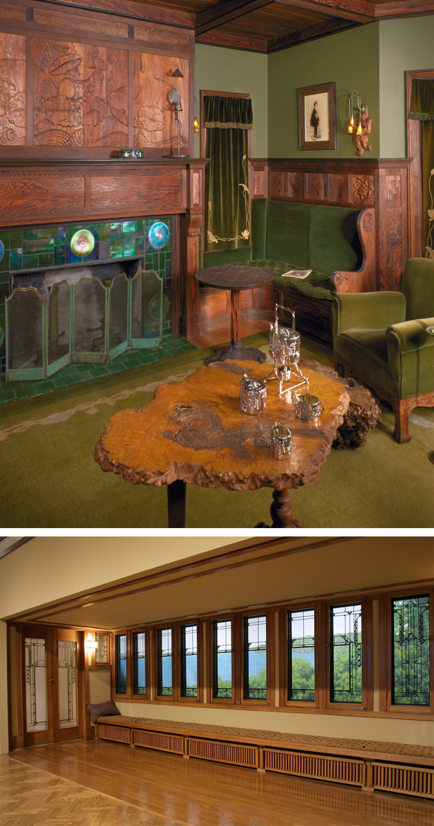 "The ""Duluth Living Room"" (top) designed by John Bradstreet for the William and Mina Prindle House in Duluth, circa 1906, and Frank Lloyd Wright's hallway from the Francis Little House in Deephaven, circa 1912–14."