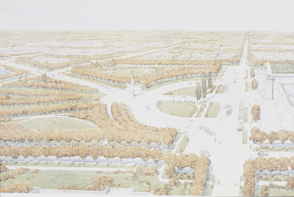 How a proposed city plan in 1917 would have placed the museum, as the center of all the arts, at the nexus of grand boulevards and parkways.