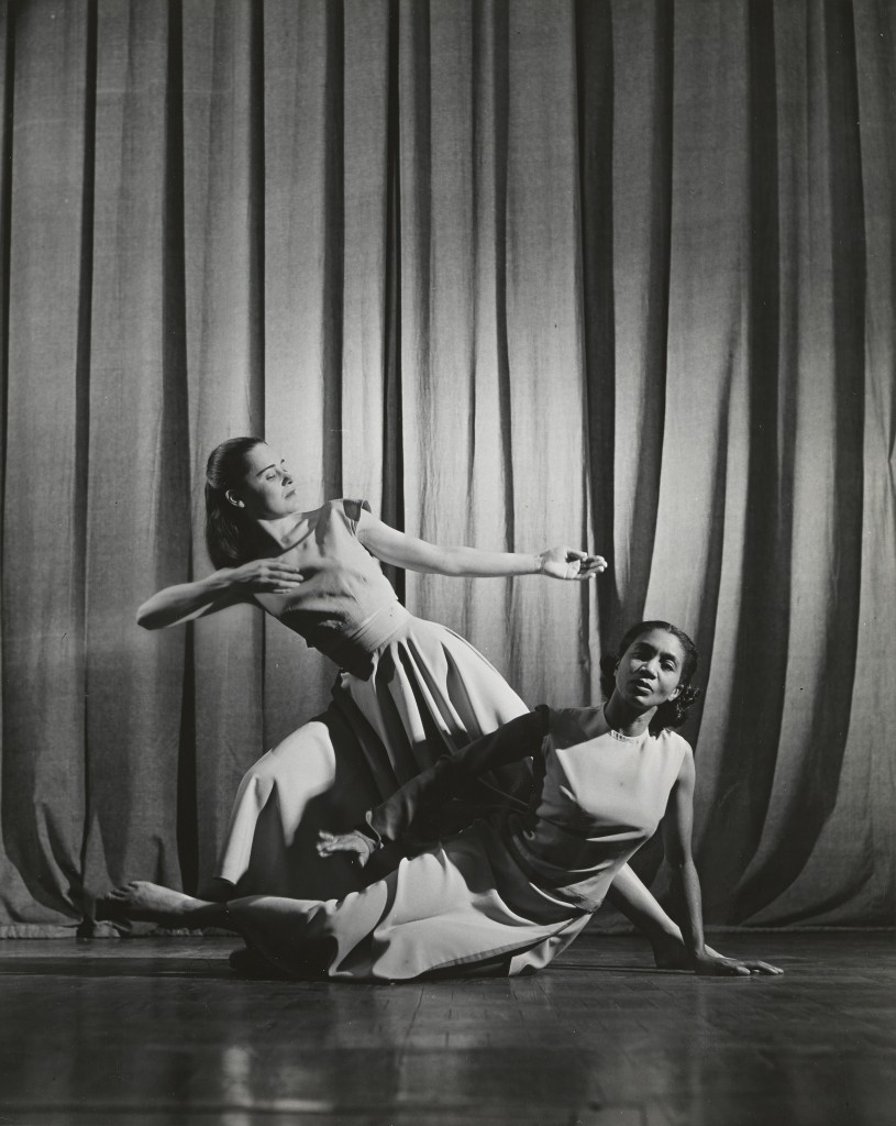 Modern dancers Gertrude Lippincott (left) and Gertrude Cain at the museum in 1959, part of an attempt to regularly host performing arts in the PIllsbury Auditorium.
