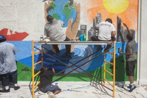 Community Mural for the St. Stephens Community in Whittier; 24th and Clinton; Mia parking facility; Mia Community Art Program