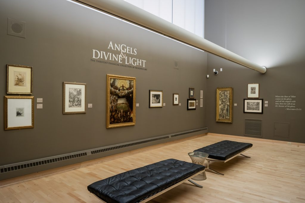 A past exhibition in the Thrivent art gallery, on the skyway level of its downtown Minneapolis headquarters.