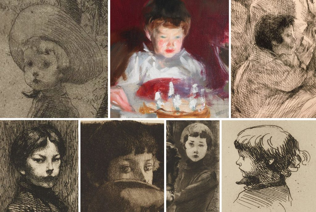 Robert Besnard, growing up in the drawings of his father (and, in color, John Singer Sargent's painting).