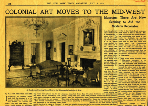 "The newly opened Charleston Dining and Drawings Rooms, 1931. Walter Rendell Storey, ""Colonial Art Moves to the Mid-West,"" The New York Times, July 5, 1931"