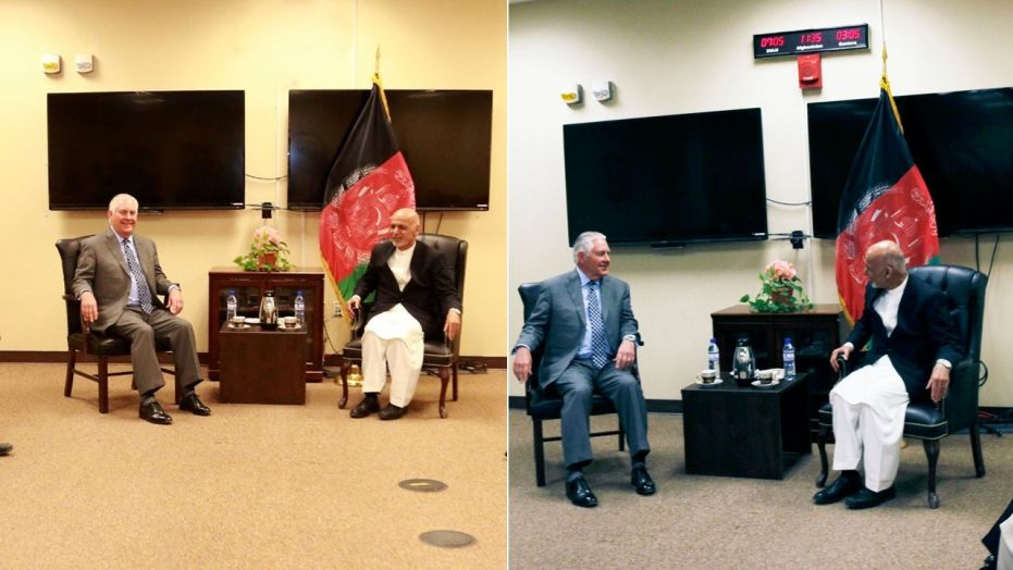 Secretary of State Rex Tillerson meets with Afghan President Ashraf Ghani, as seen in photos provided by the U.S. State Department and Office of the President of Afghanistan.