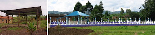 The site of Genocide Memorial Park, in Rwanda, before and after Yeh brought a survivor's village together around art.