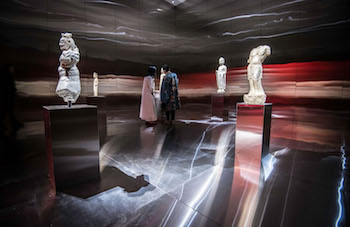 "A theatrically lit gallery in ""Power and Beauty in China's Last Dynasty"" at Mia, as envisioned by Robert Wilson."