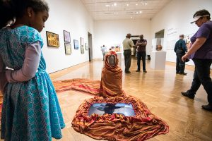 """Gallery view of Ifrah Mansour's installation """"Can I touch It"""" in the """"I Am Somali: Three Visual Artists from the Twin Cities"""" exhibition at Mia."""