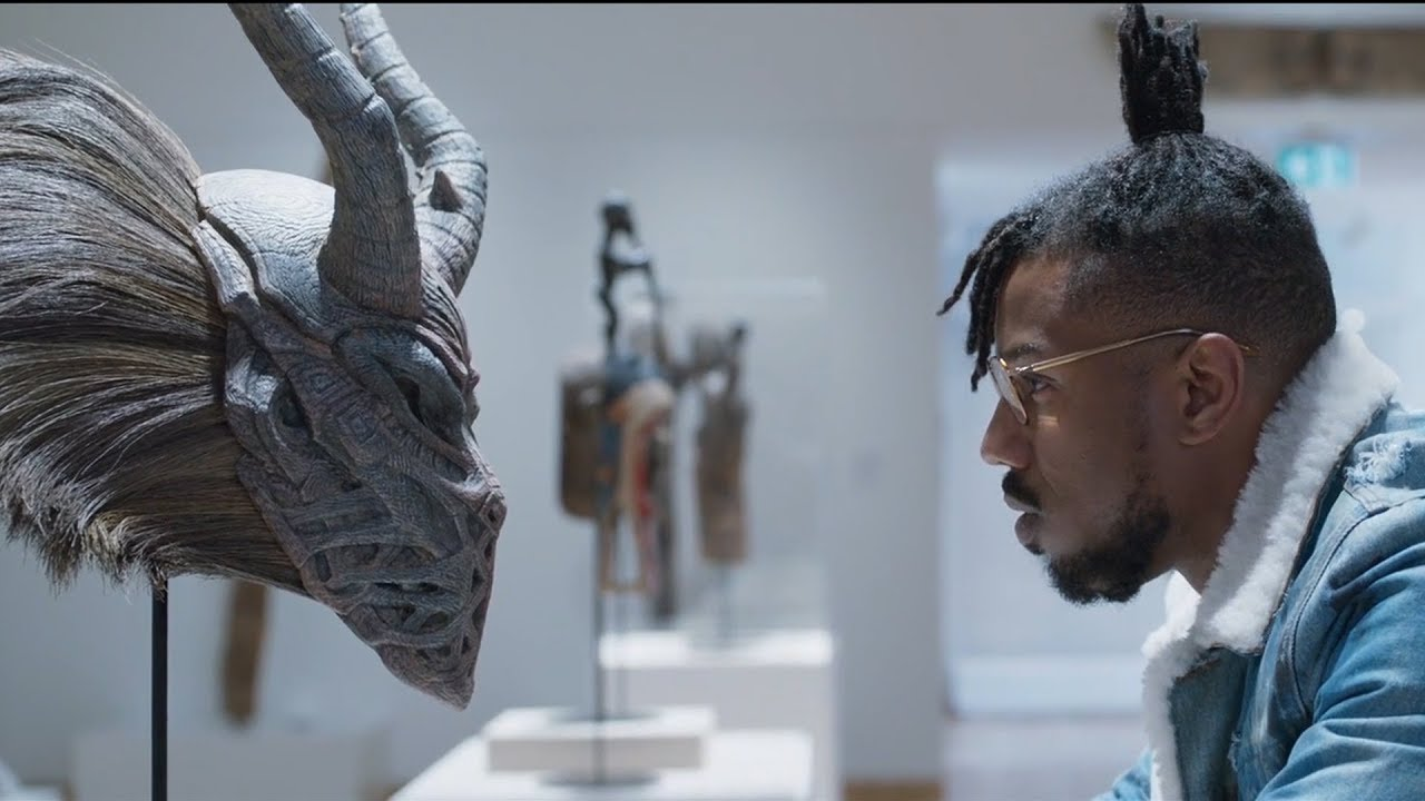 "The scene in ""Black Panther"" in which the character Erik Killmonger inspects African art at the Museum of Great Britain."
