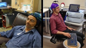 Rajesh Rao, left, sends brain signals to Andrea Stocco, right, at the University of Washington.